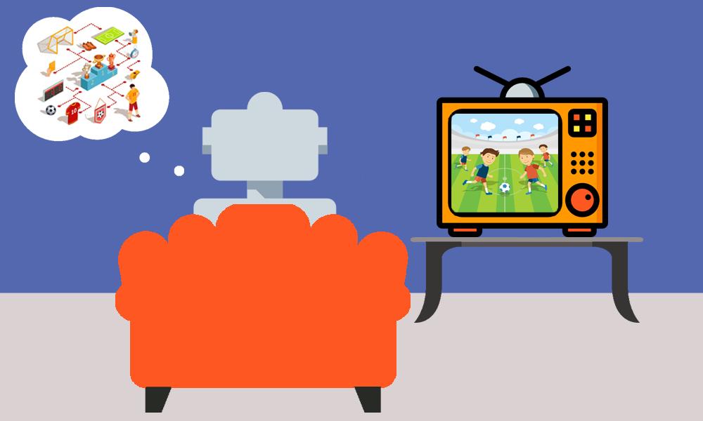 robot watching football on tv